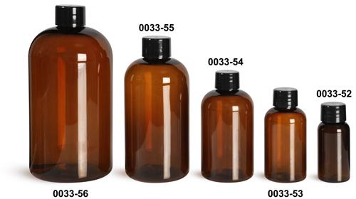 Plastic Bottles, Amber PET Boston Round Bottles w/ Smooth Black Plastic Lined Caps