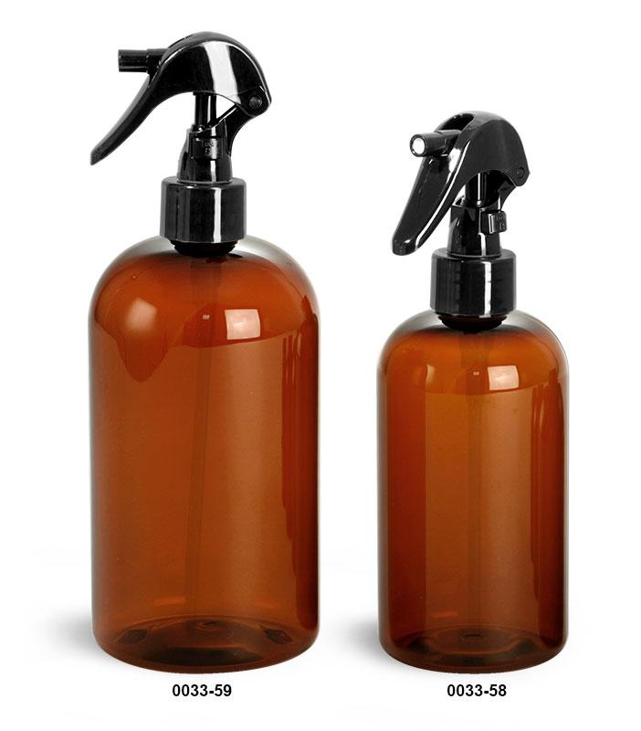 Plastic Bottles, Amber PET Boston Round Bottles w/ Black Mini Trigger Sprayers