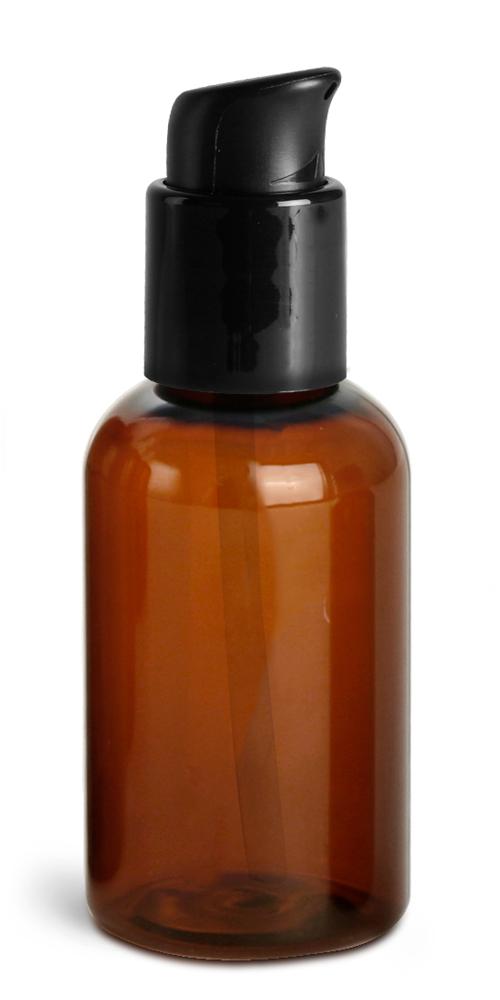2 oz  Amber PET Boston Round Bottles w/ Black Treatment Pumps