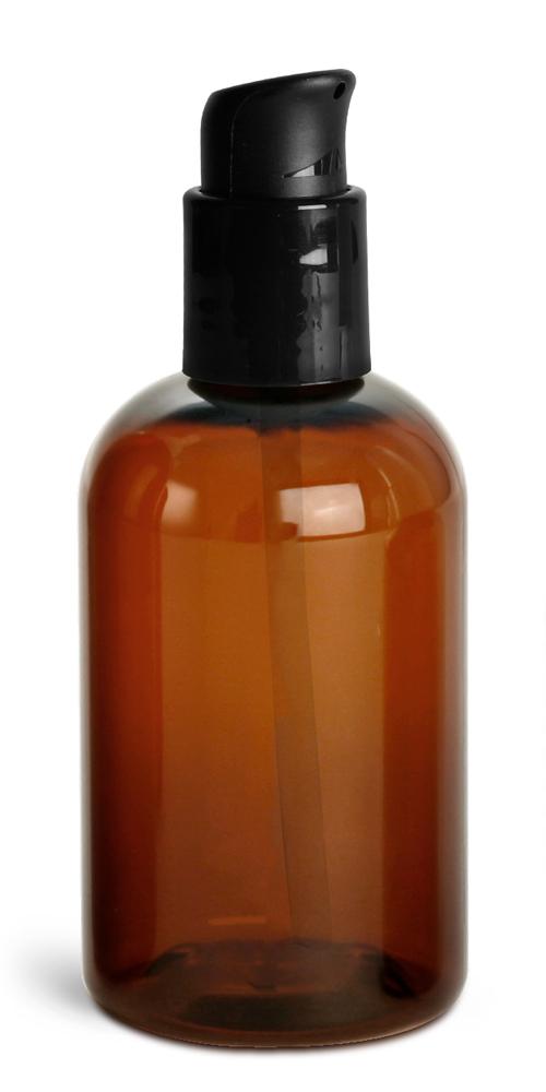 4 oz  Amber PET Boston Round Bottles w/ Black Treatment Pumps