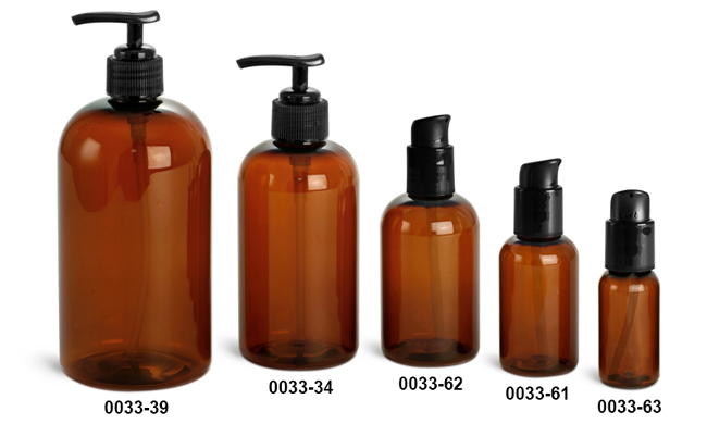 Plastic Bottles, Amber PET Boston Round Bottles w/ Black Lotion Pumps Or Treatment Pumps