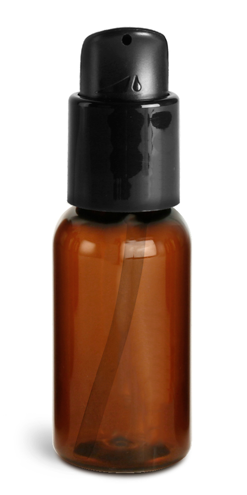 1 oz Amber PET Boston Round Bottles w/ Black Treatment Pumps