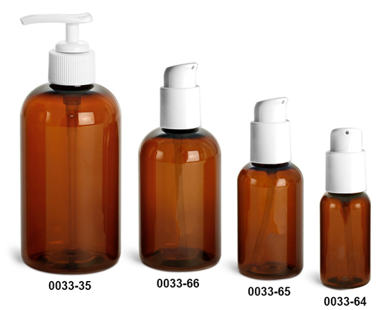 Plastic Bottles, Amber PET Boston Round Bottles w/ White Lotion Pumps Or Treatment Pumps
