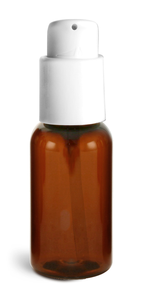 1 oz Amber PET Boston Round Bottles w/ White Treatment Pumps