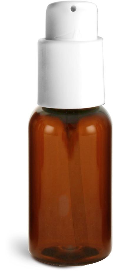 Amber PET Boston Round Bottles w/ White Treatment Pumps
