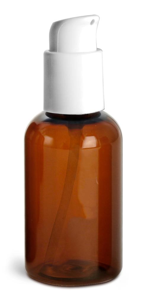2 oz Amber PET Boston Round Bottles w/ White Treatment Pumps