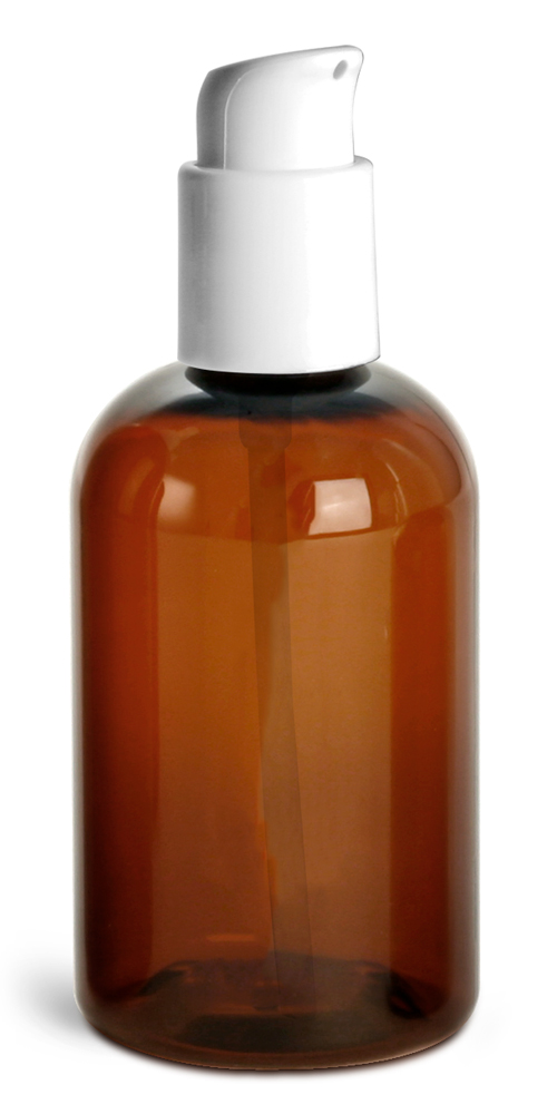 4 oz Amber PET Boston Round Bottles w/ White Treatment Pumps