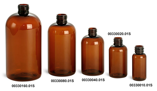 Amber PET Boston Round Bottles  (Bulk), Caps Not Included