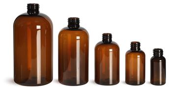 Amber PET Boston Round Bottles  (Bulk), Caps Not Included