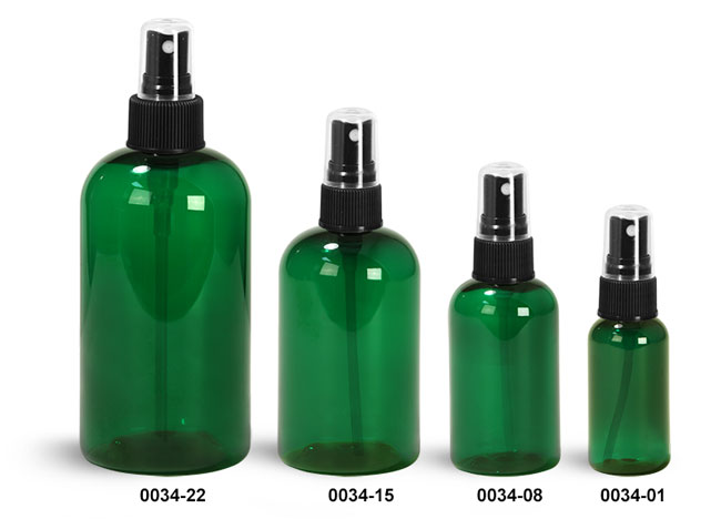 Plastic Bottles, Green PET Boston Round Bottles w/ Black Ribbed Fine Mist Sprayers