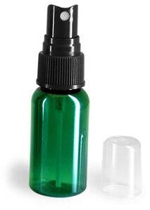 Green PET Boston Round Bottles w/ Black Fine Mist Sprayers