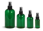 PET Plastic Bottles, Green Boston Round Bottles w/ Black Ribbed Fine Mist Sprayers