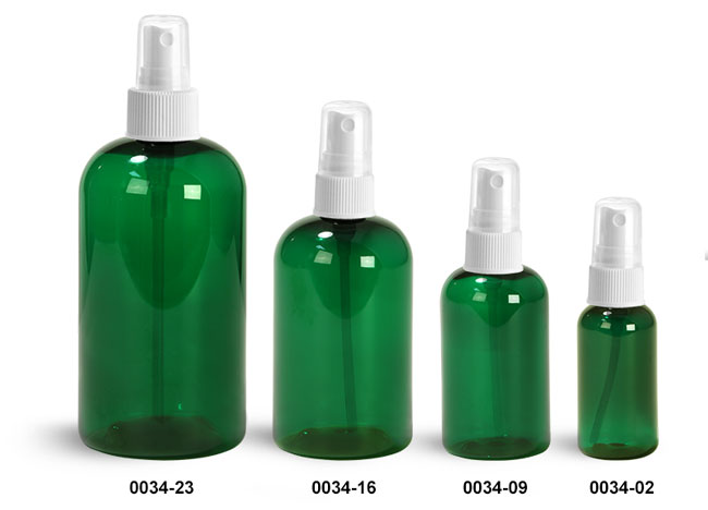 Plastic Bottles, Green PET Boston Round Bottles With White Fine Mist Sprayers