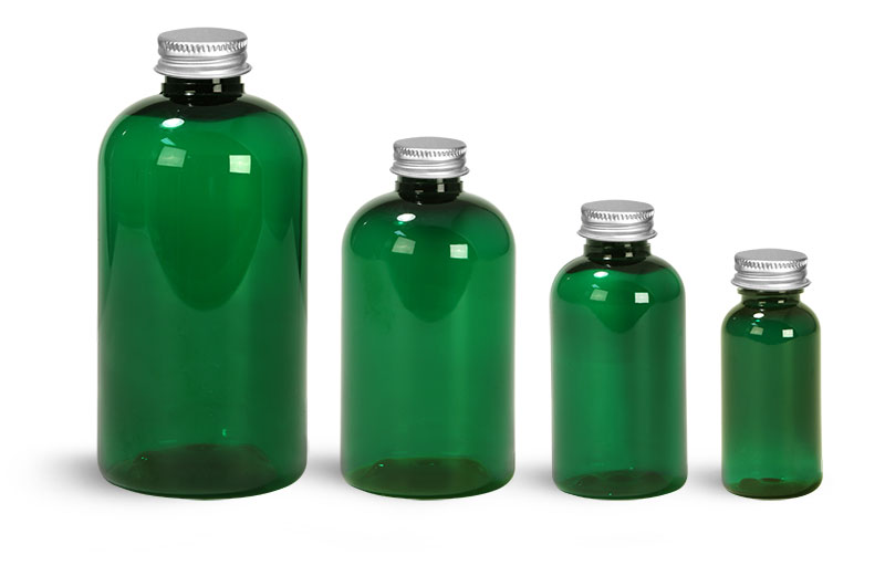 PET Plastic Bottles, Green Boston Round Bottles w/ Lined Aluminum Caps