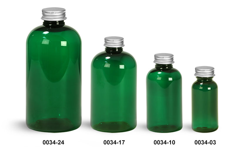 Plastic Bottles, Green PET Boston Rounds with Silver Caps