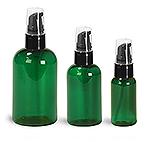 Green PET Boston Round Bottles w/ Black Treatment Pumps