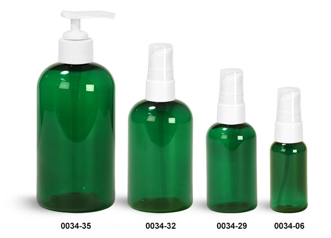 Plastic Bottles, Green PET Boston Round Bottles With White Lotion Pumps & Treatment Pumps