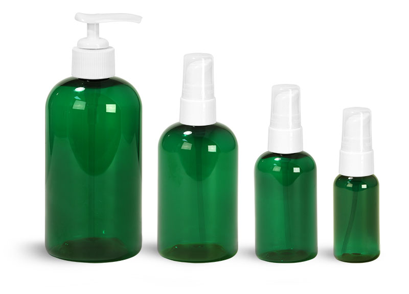 PET Plastic Bottles, Green Boston Round Bottles w/ White Pumps & Treatment Pumps