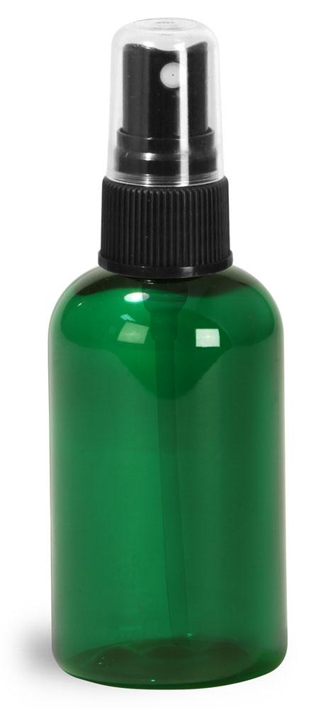 2 oz Green PET Boston Round Bottles w/ Black Fine Mist Sprayers