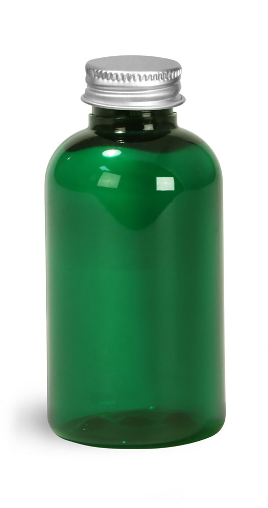 2 oz Green PET Round Bottles w/ Lined Aluminum Caps