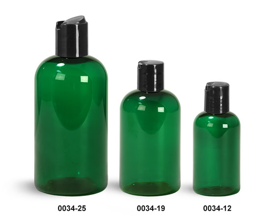 Plastic Bottles, Green PET Boston Rounds with Black Disc Top Caps