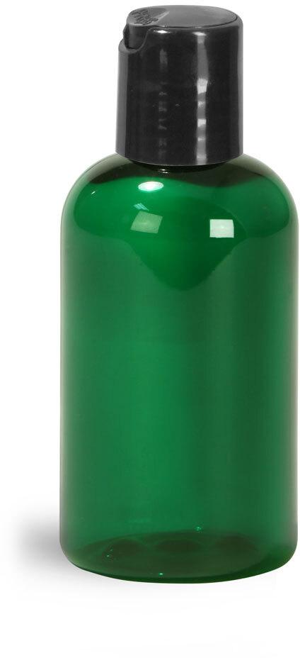 Green PET Boston Round Bottles w/ Black Disc Top Caps
