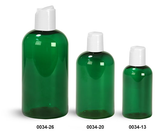 Plastic Bottles, Green PET Boston Round Bottles With White Disc Top Caps