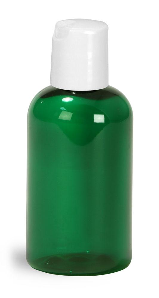 2 oz Green PET Boston Round Bottles w/ White Disc Top Caps