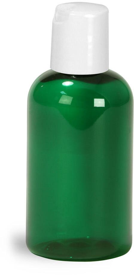 Green PET Boston Round Bottles w/ White Disc Top Caps