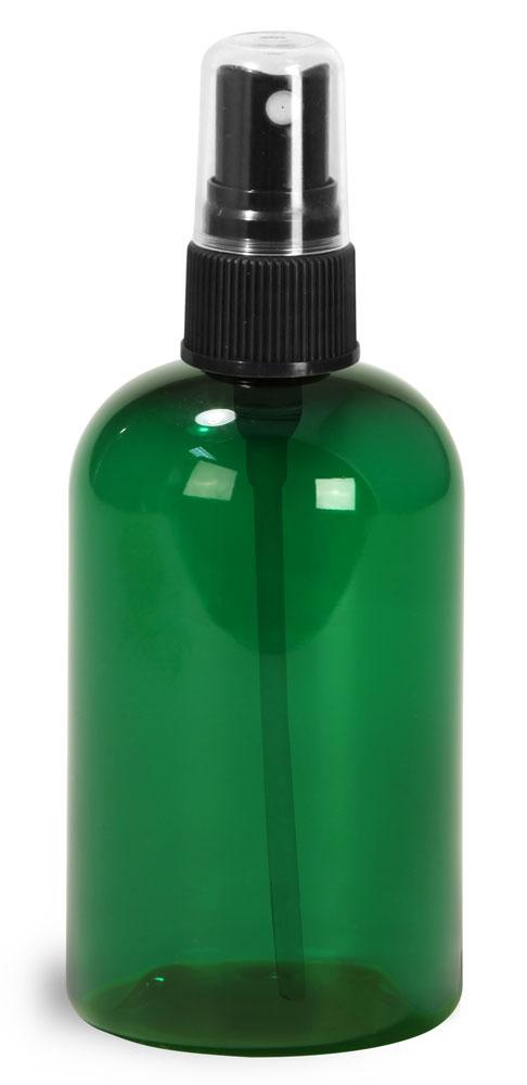 4 oz Green PET Boston Round Bottles w/ Black Fine Mist Sprayers