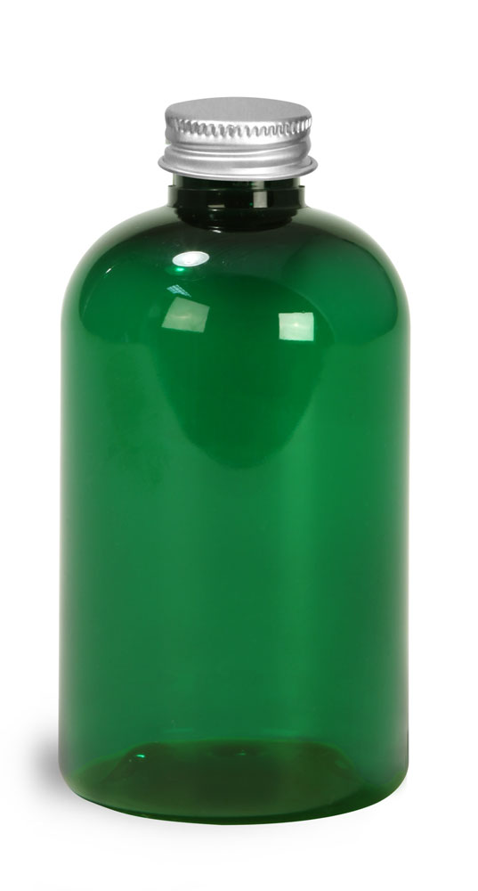 4 oz Green PET Round Bottles w/ Lined Aluminum Caps