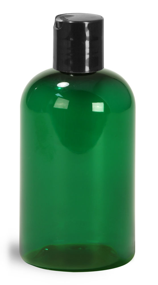 4 oz Green PET Boston Round Bottles w/ Black Disc Top Caps