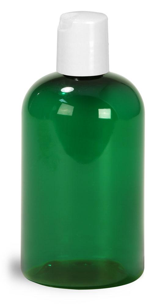 4 oz Green PET Boston Round Bottles w/ White Disc Top Caps