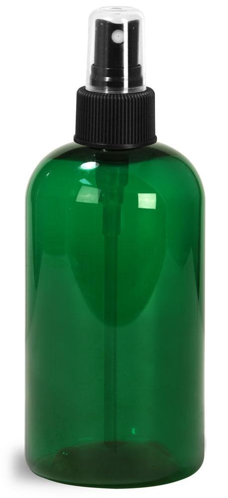 8 oz Green PET Boston Round Bottles w/ Black Fine Mist Sprayers