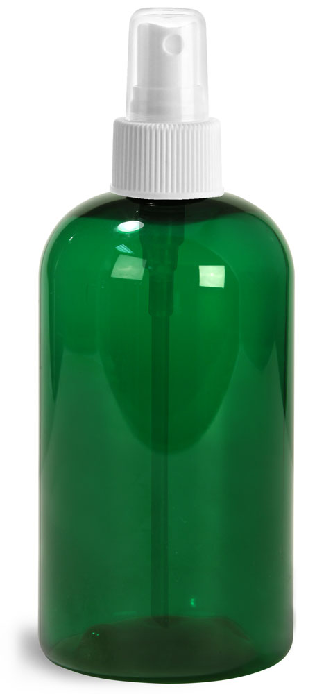 8 oz Green PET Boston Round Bottles w/ White Fine Mist Sprayers