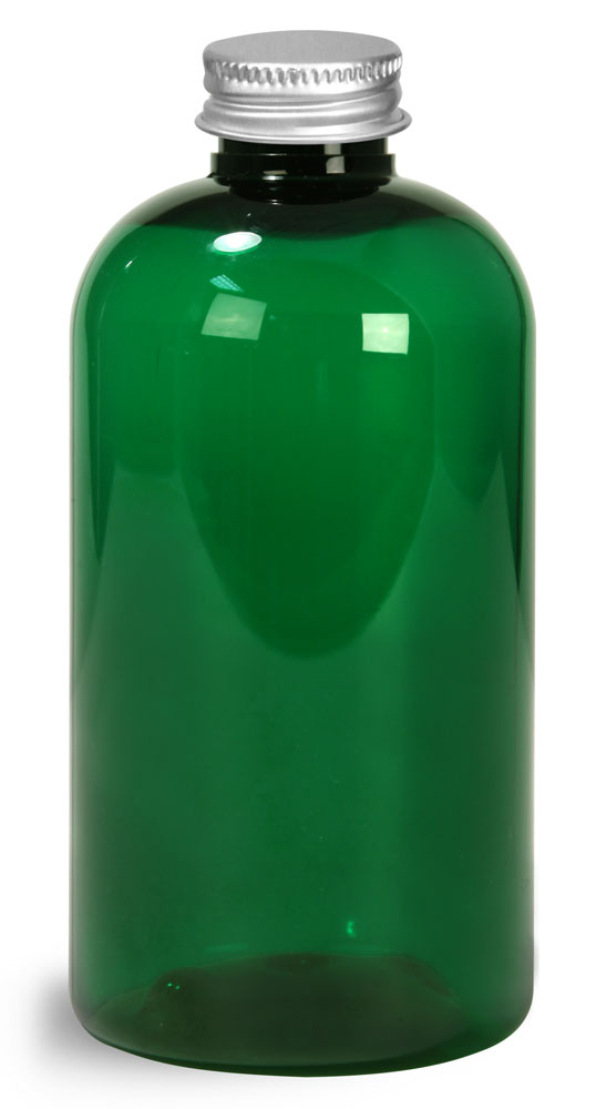 Green PET Round Bottles w/ Lined Aluminum Caps