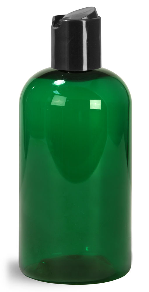 Green PET Boston Round Bottles w/ Black Disc Top Caps