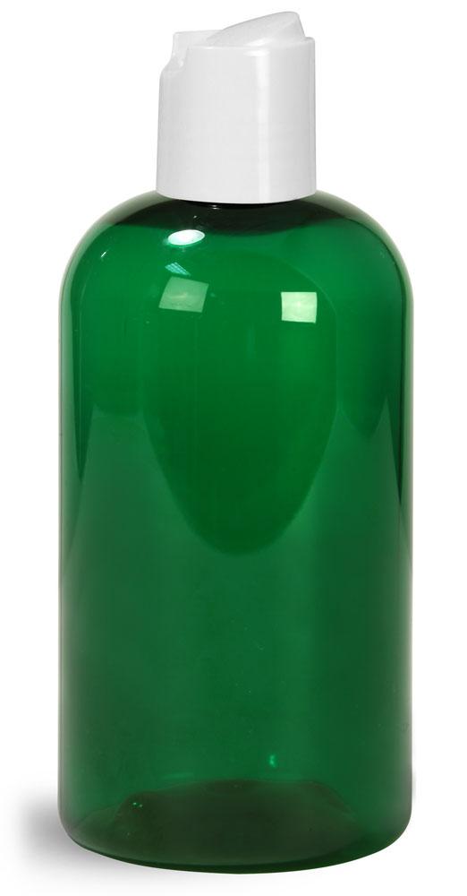 8 oz Green PET Boston Round Bottles w/ White Disc Top Caps