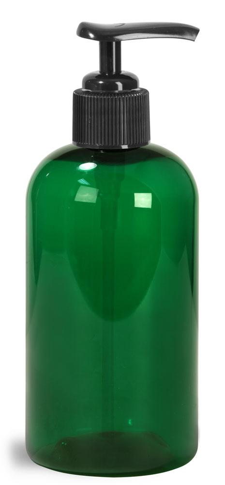 8 oz Green PET Boston Round Bottles w/ Black Pumps