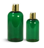 PET Plastic Bottles, Green Boston Round Bottles w/ Gold Disc Top Caps