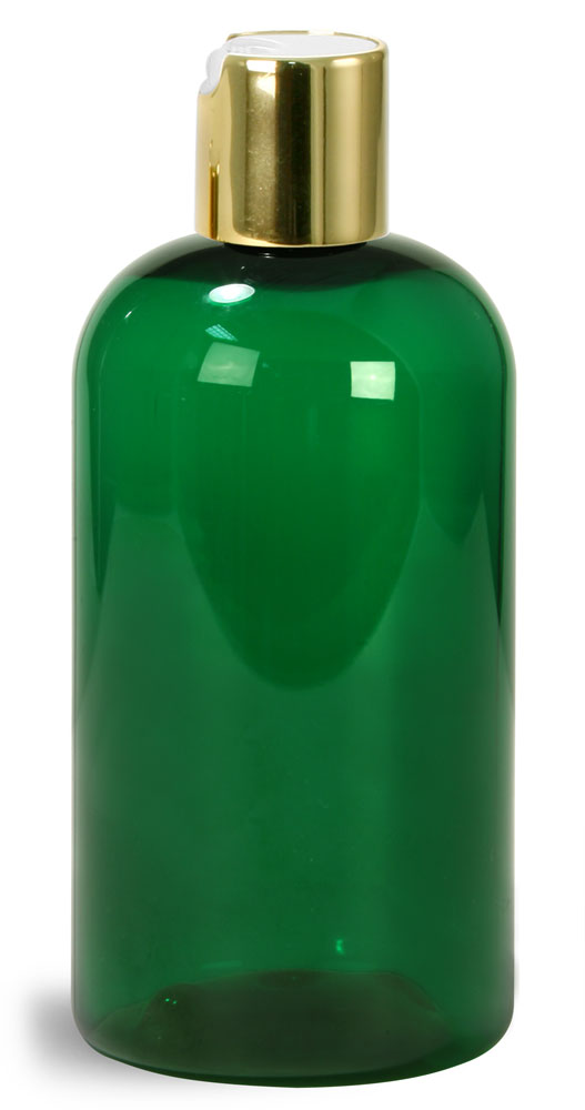 Green PET Boston Round Bottles w/ Gold Disc Top Caps