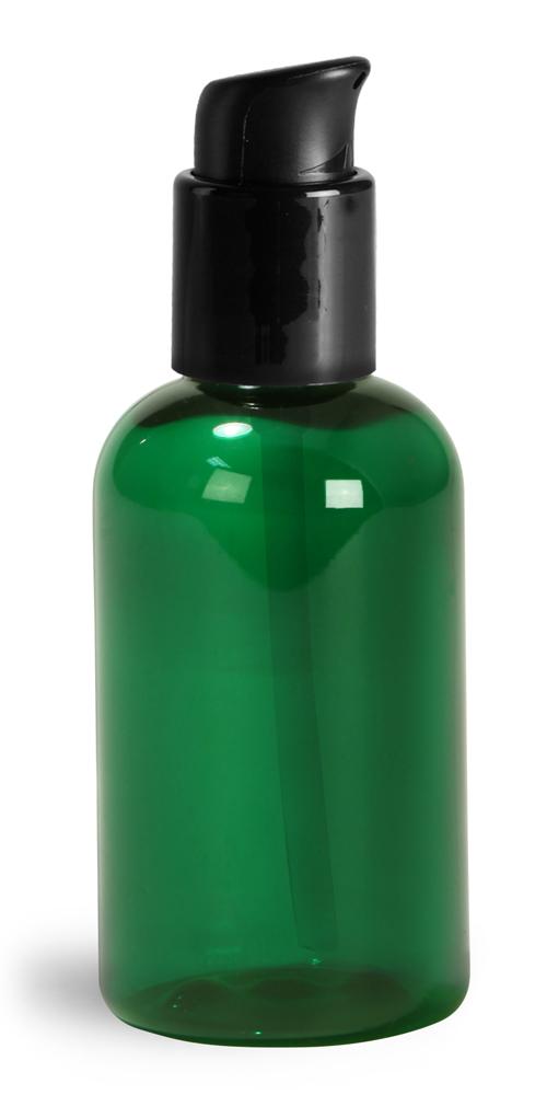 2 oz  Green PET Boston Round Bottles w/ Black Treatment Pumps