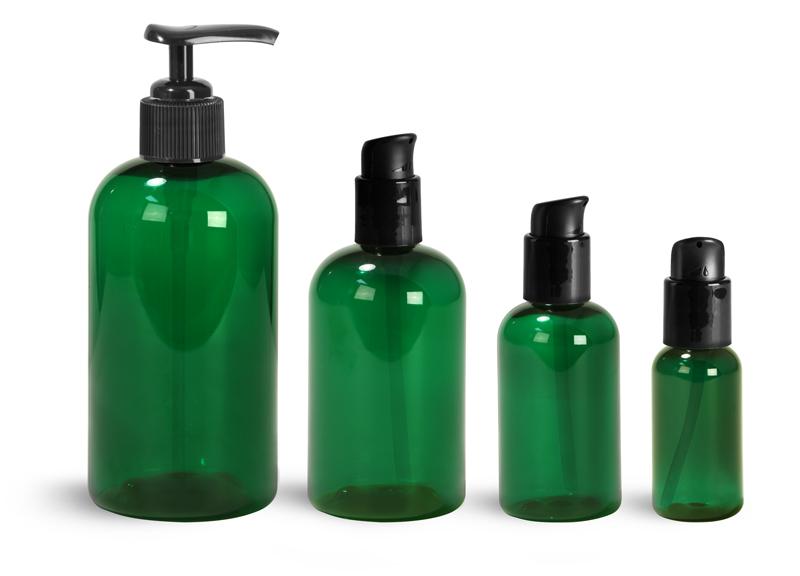 PET Plastic Bottles, Green Boston Round Bottles w/ Black Pumps