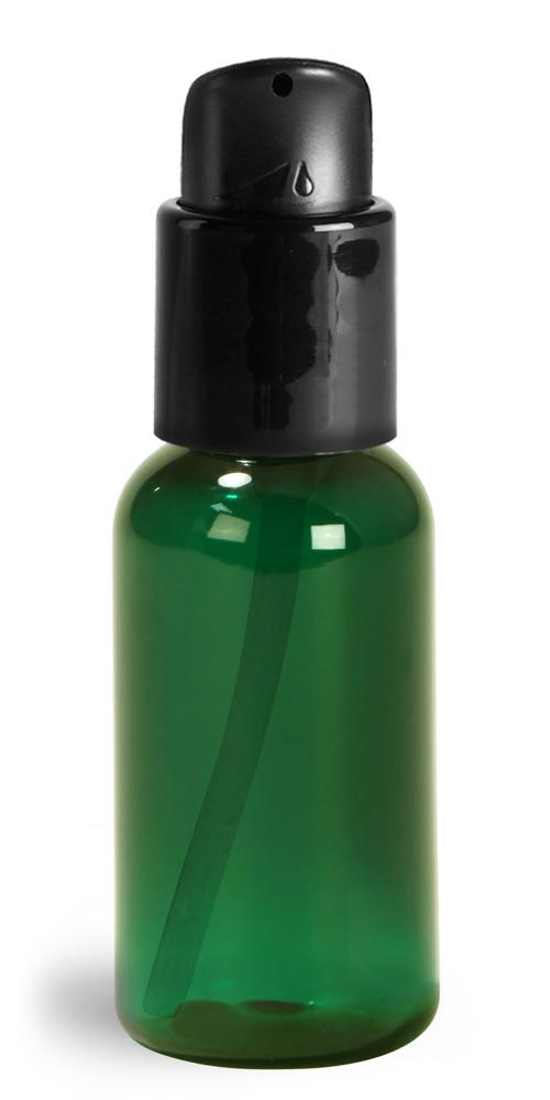 1 oz Green PET Boston Round Bottles w/ Black Treatment Pumps