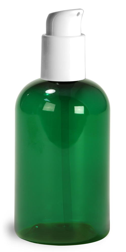 4 oz  Green PET Boston Round Bottles w/ White Treatment Pumps