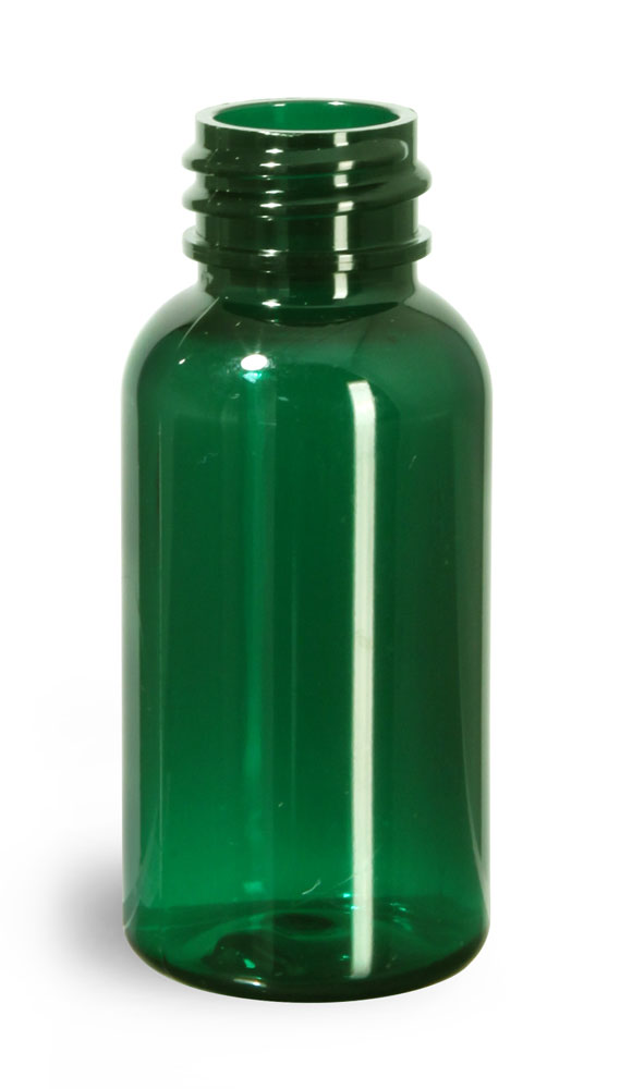 1 oz Green PET Boston Round Bottles (Bulk), Caps Not Included