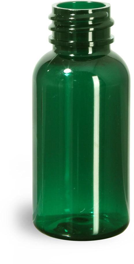 Green PET Boston Round Bottles (Bulk), Caps Not Included