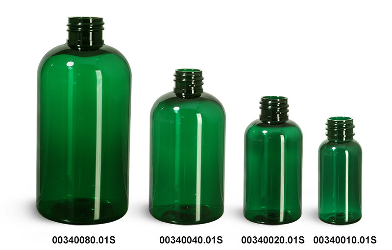 Green PET Boston Round Bottles (Bulk), Caps Not Included