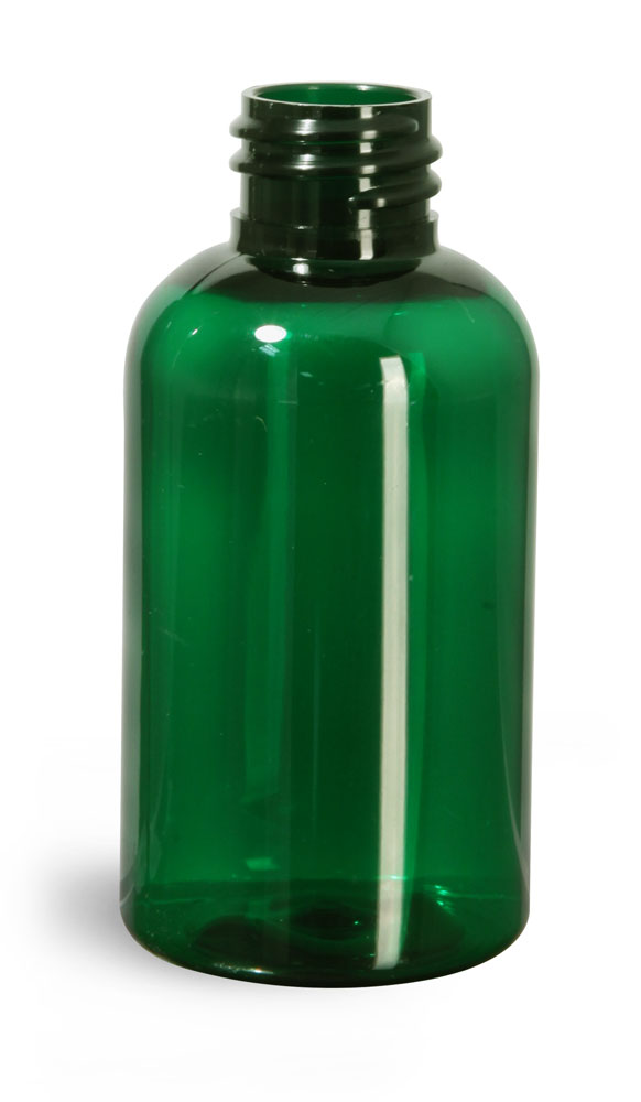 2 oz Green PET Boston Round Bottles (Bulk), Caps Not Included