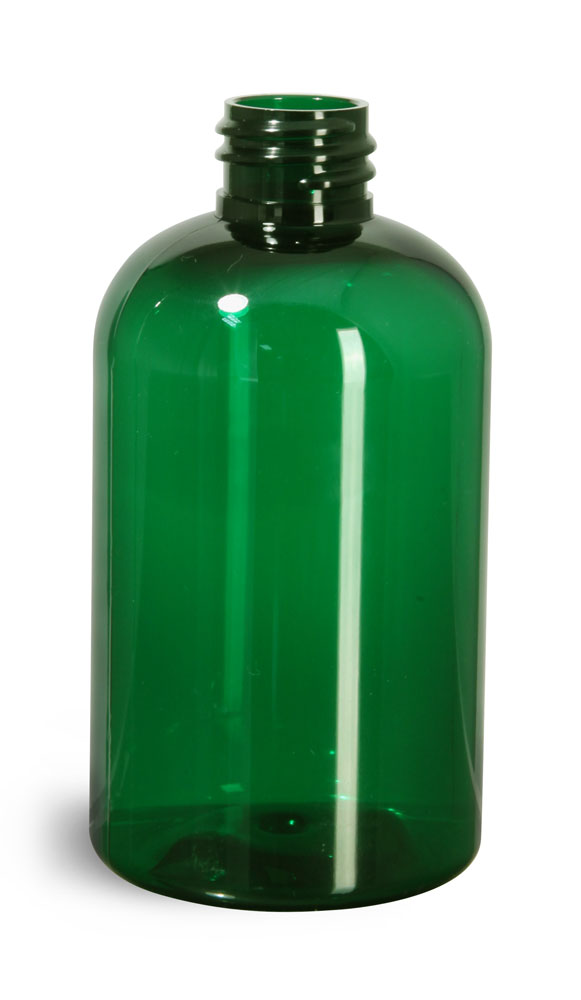 4 oz Green PET Boston Round Bottles (Bulk), Caps Not Included